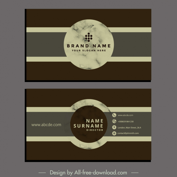 business card template elegant retro design circle decor