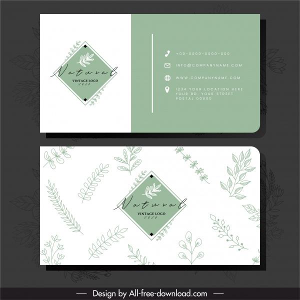business card template flat classic handdrawn leaf sketch