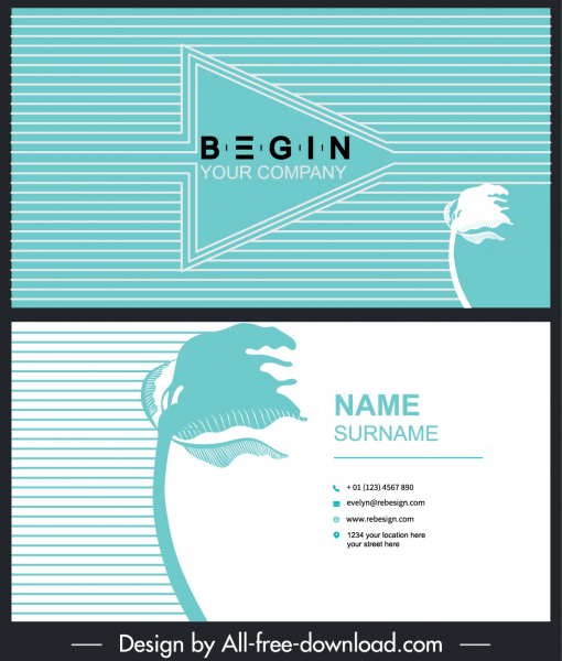 business card template leaning flower arrow stripes decor