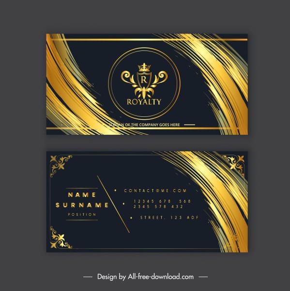 business card template luxury black golden royal decor