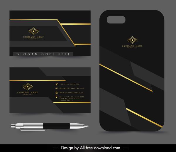 business card template luxury elegant golden black decor
