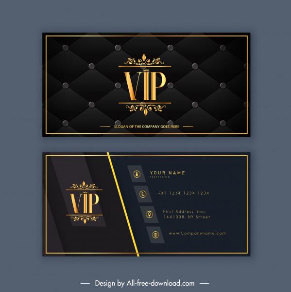 business card template luxury vip decor golden black