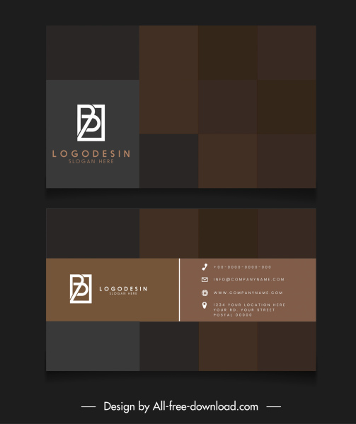 business card template modern blurred checkered squares decor