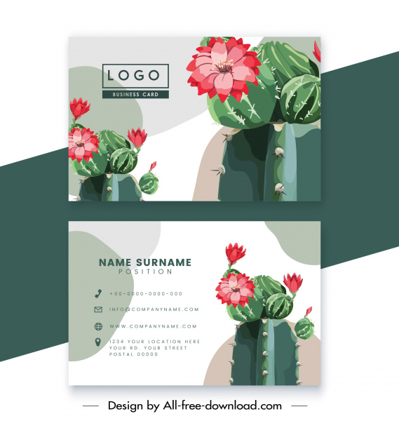 business card template modern colorful cactus flower decor