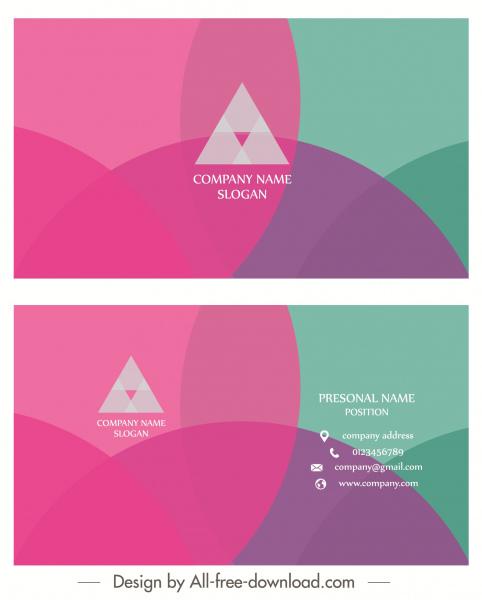 business card template modern colorful flat transparent decor