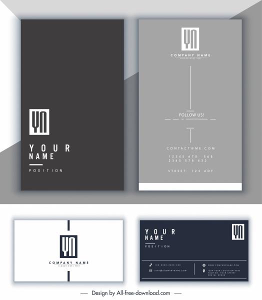 business card template modern dark bright plain decor