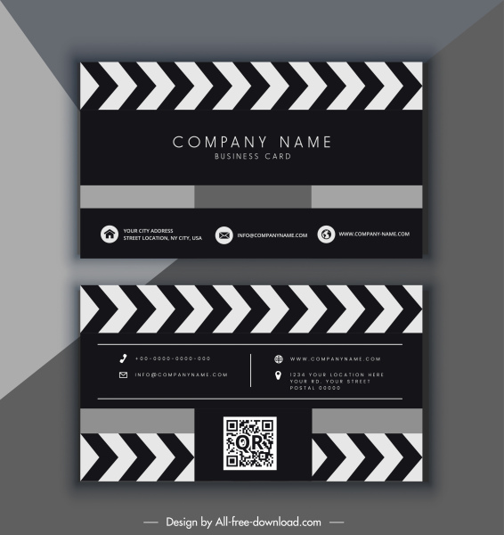 business card template movie theme black white design