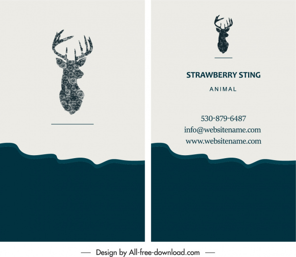 business card template natural reindeer logo decor