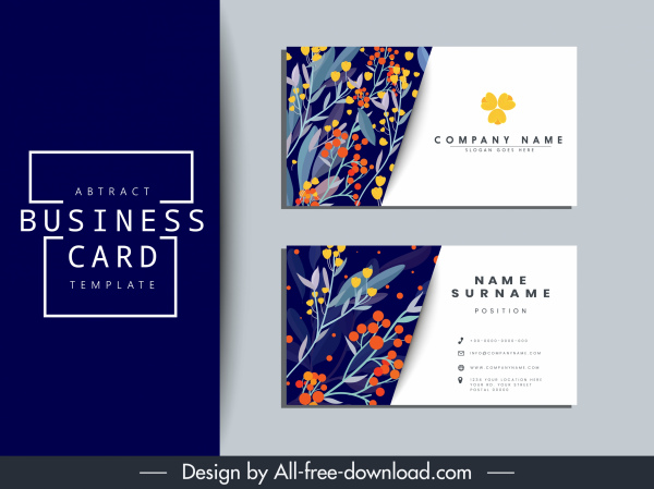 Business Card Template Nature Theme Classical Flora Decor