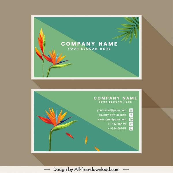 business card template nature theme flora decor