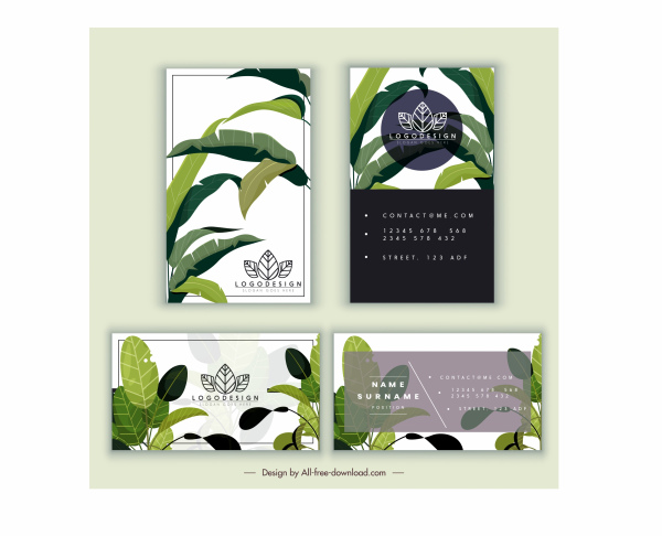 business card template nature theme green leaves decor