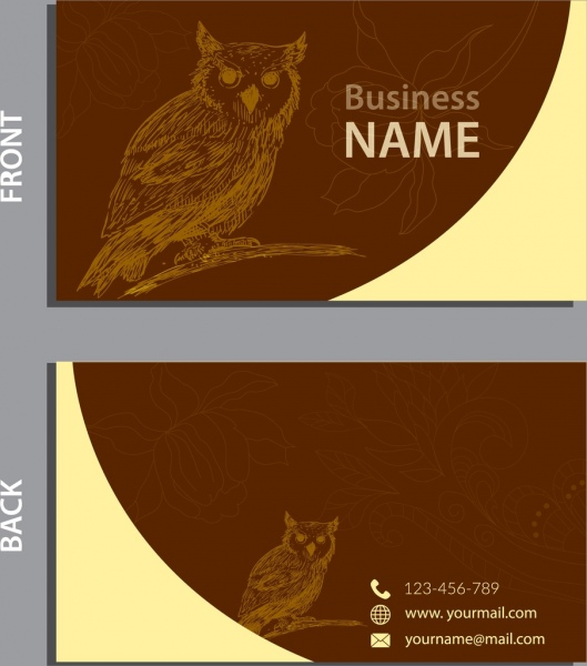 Business Card Template Owl Silhouette Sketch