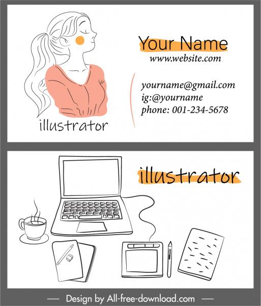 business card template portrait desk elements handdrawn sketch