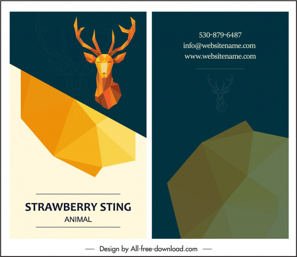 business card template reindeer icon decor 3d polygonal