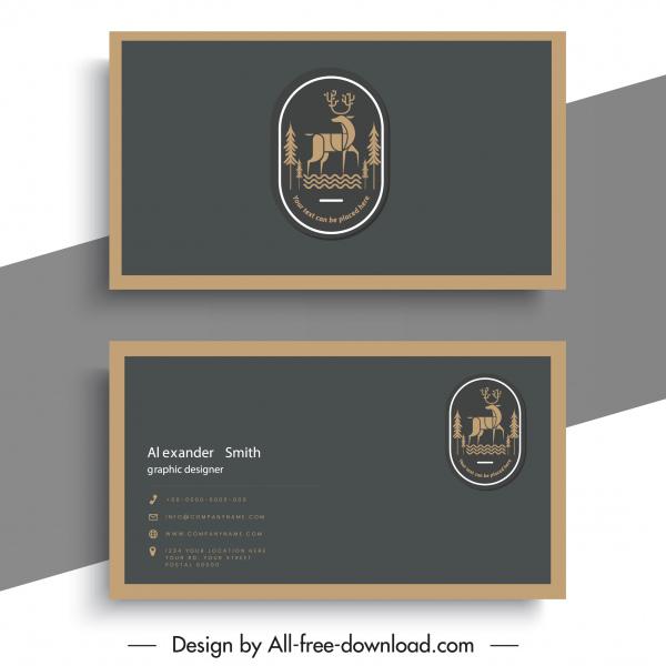 business card template reindeer logo classical plain design