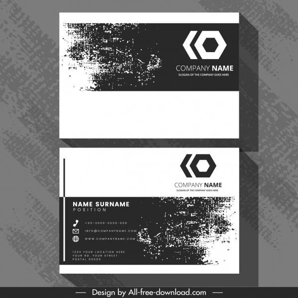 business card template retro black white grunge decor