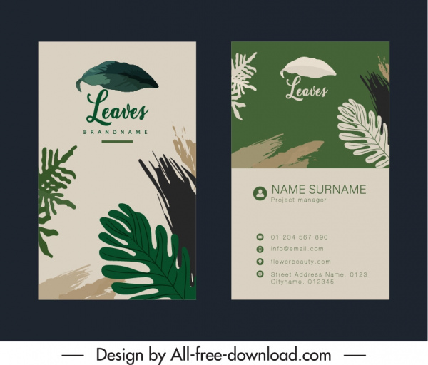 business card template retro leaves decor