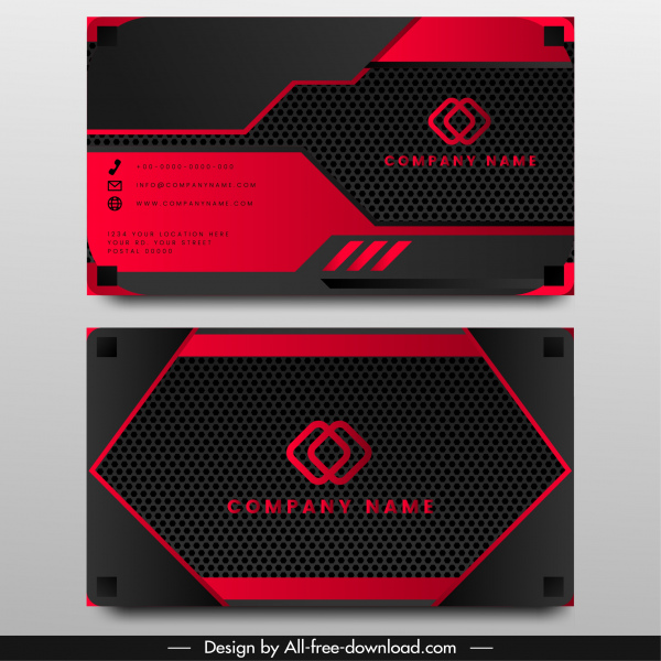 business card template technology theme black red decor