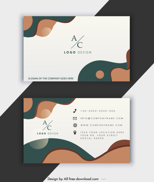 business card template text logo abstract curves decor
