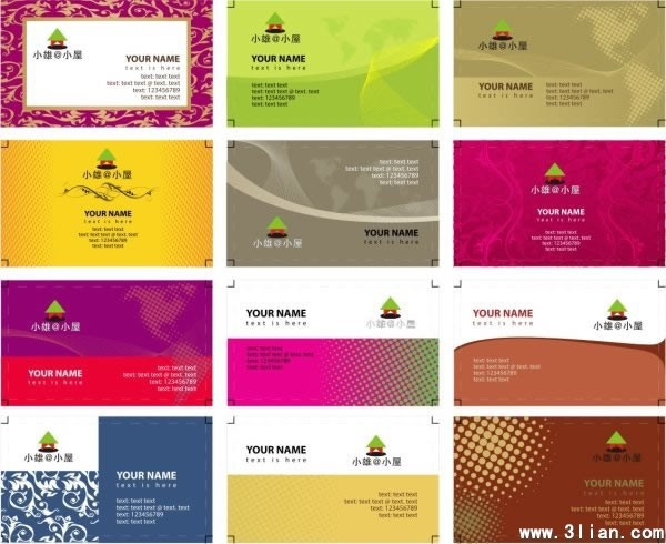 name card templates classical colored abstract decor