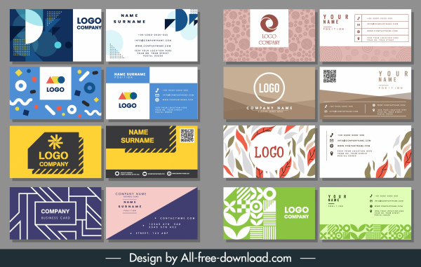 business card templates abstract nature technology themes decor