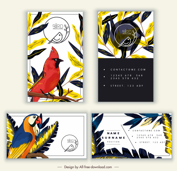 Business Card Templates Birds Leaves Sketch Classic Design