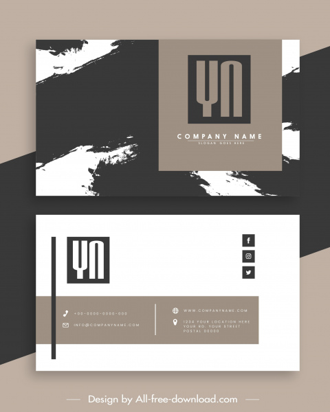 business card templates black white grunge plain decor