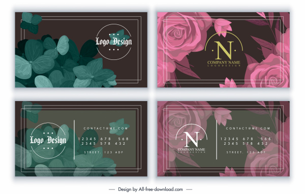 business card templates classic colored leaf floral decor
