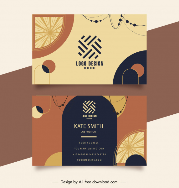 business card templates classic flat abstract decor