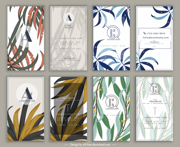 business card templates classical leaves decor vertical design