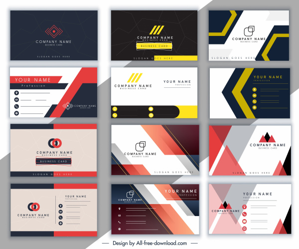 business card templates collection colored modern elegant decor