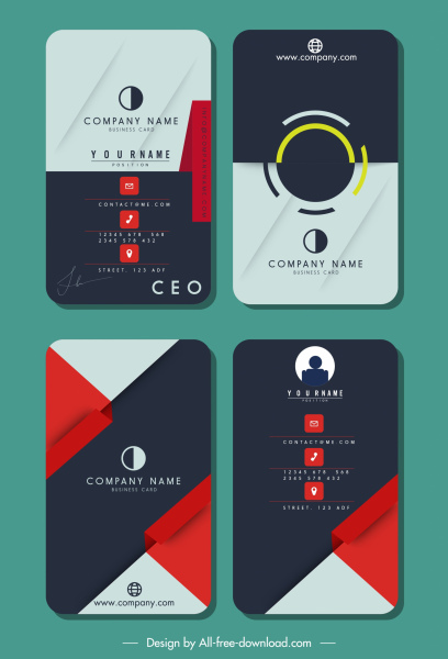 business card templates colored flat vertical technology theme