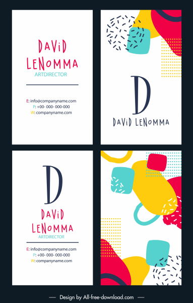 business card templates colorful flat abstract handdrawn sketch