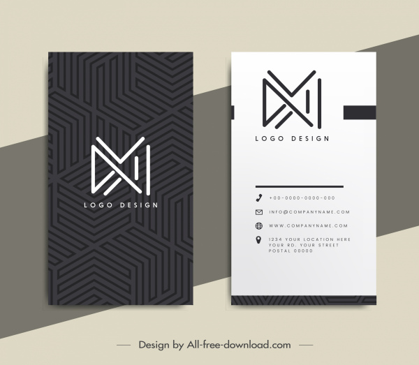 business card templates contrast design abstract lines logotypes