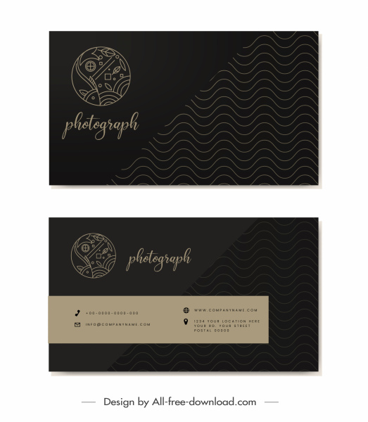 business card templates dark black waves fish sketch