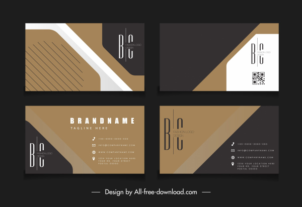 business card templates dark elegant flat texts logotype