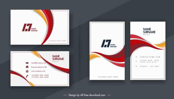 business card templates elegant bright dynamic curves decor