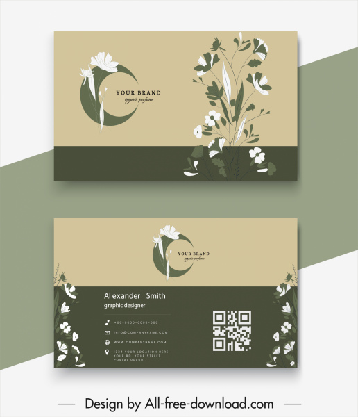 business card templates elegant classical floral decor