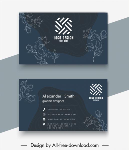 business card templates elegant dark botanical sketch