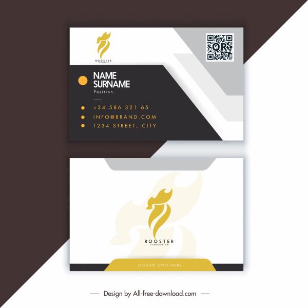 business card templates elegant dark bright rooster logotype