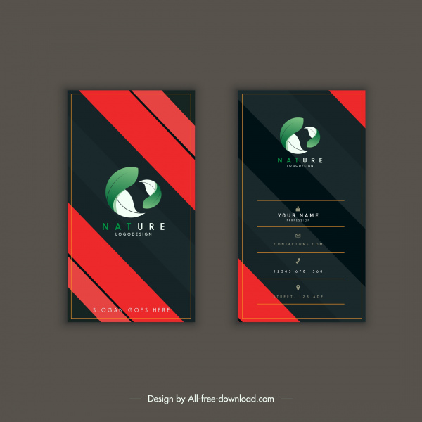 business card templates elegant dark vertical 3d leaf