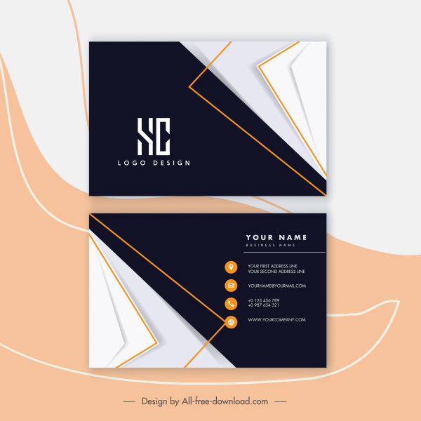 business card templates elegant flat contrast decor