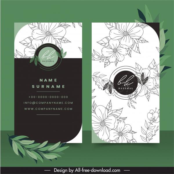 business card templates elegant handdrawn petals decor
