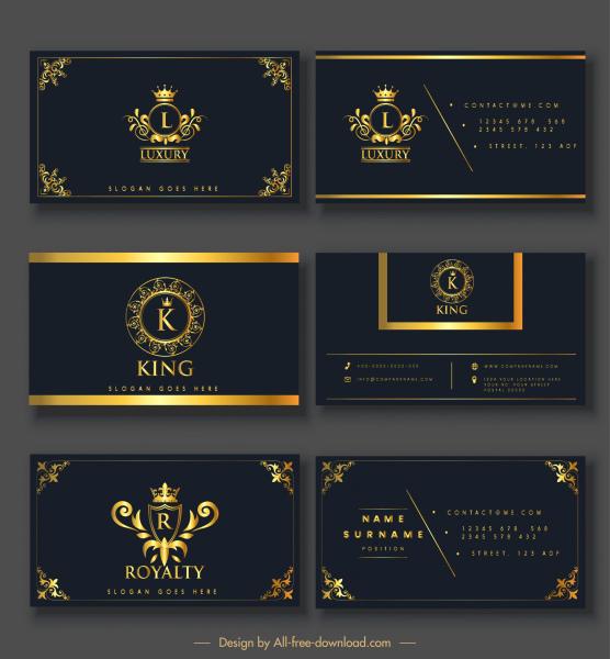 business card templates elegant luxury royal elements decor