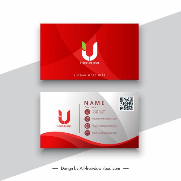 business card templates elegant red white decor