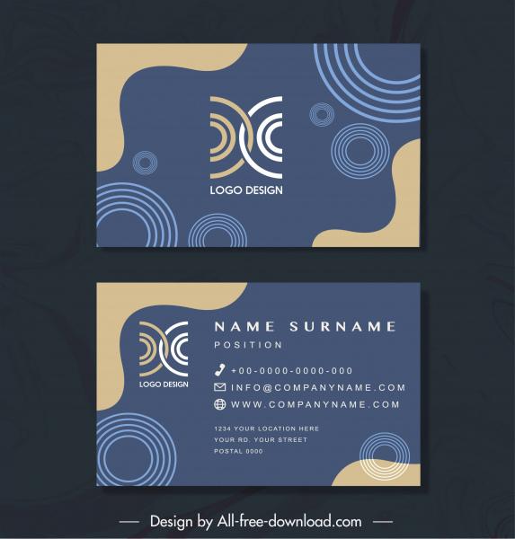 business card templates flat abstract geometric decor