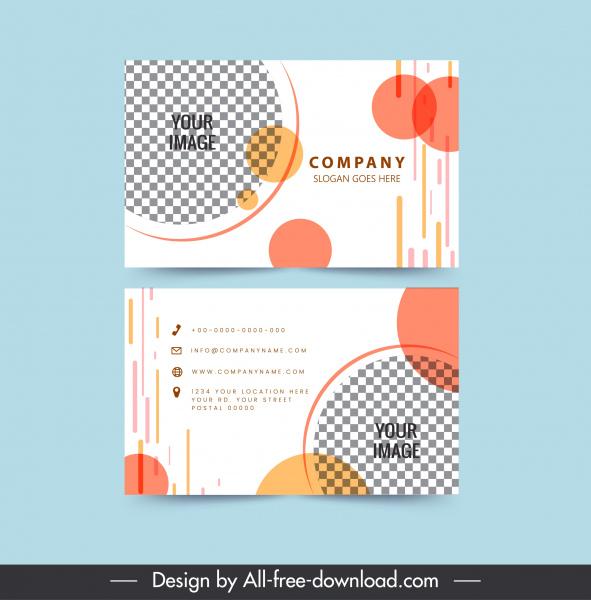 business card templates flat checkered circles decor