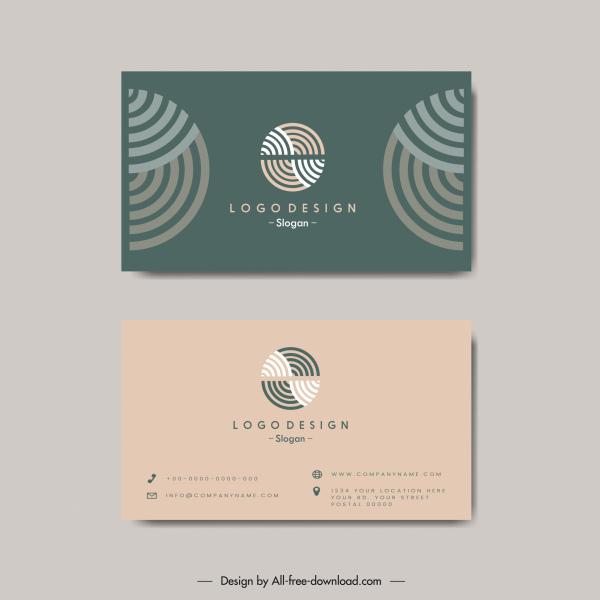 business card templates flat circle curves logotype decor