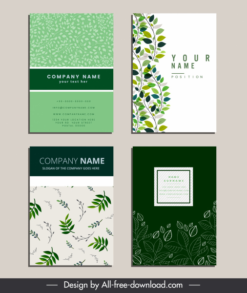 business card templates green natural leaves sketch