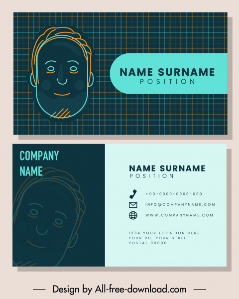 business card templates handdrawn face sketch checkered decor